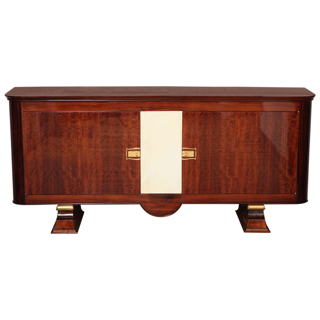 Art Deco Sideboard in Walnut with Parchment Center Door 1