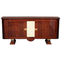 Art Deco Sideboard in Walnut with Parchment Center Door