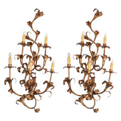 Pair of Large 1950s Italian Gilt Iron Floral Sconces