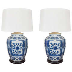 Pair of Chinese Blue and White Porcelain Jars, Wired as Lamps