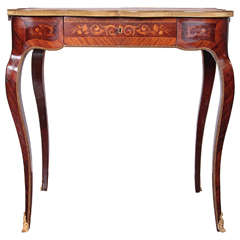 19th Century French Louis XV Marquetry Writing Table Signed P Sormani