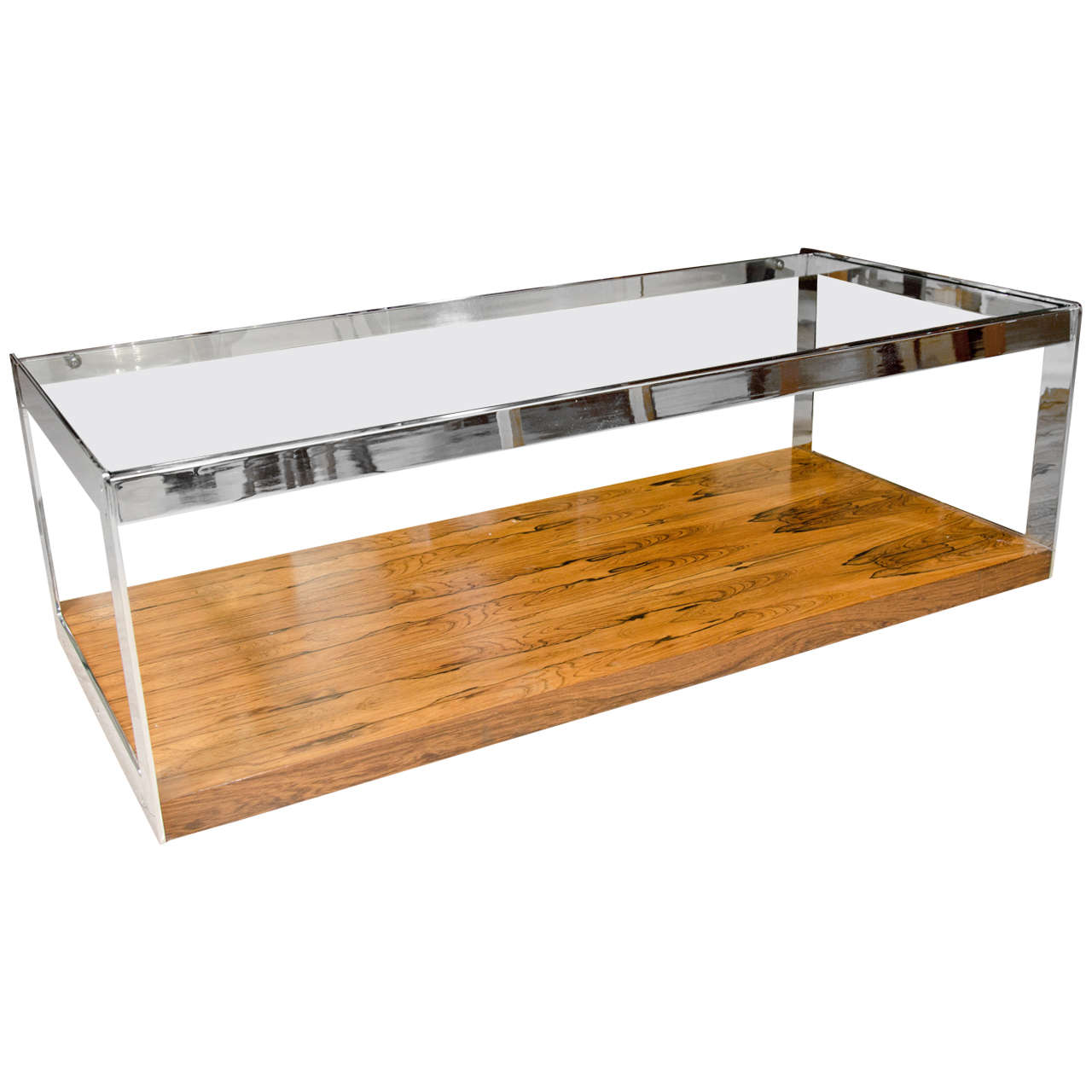 Chrome Glass And Rosewood Coffee Table At 1stdibs