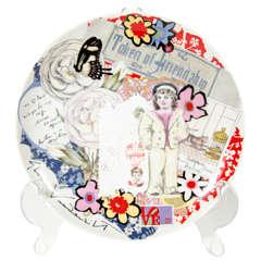 Modernist Pop Art Collage Porcelain Plate