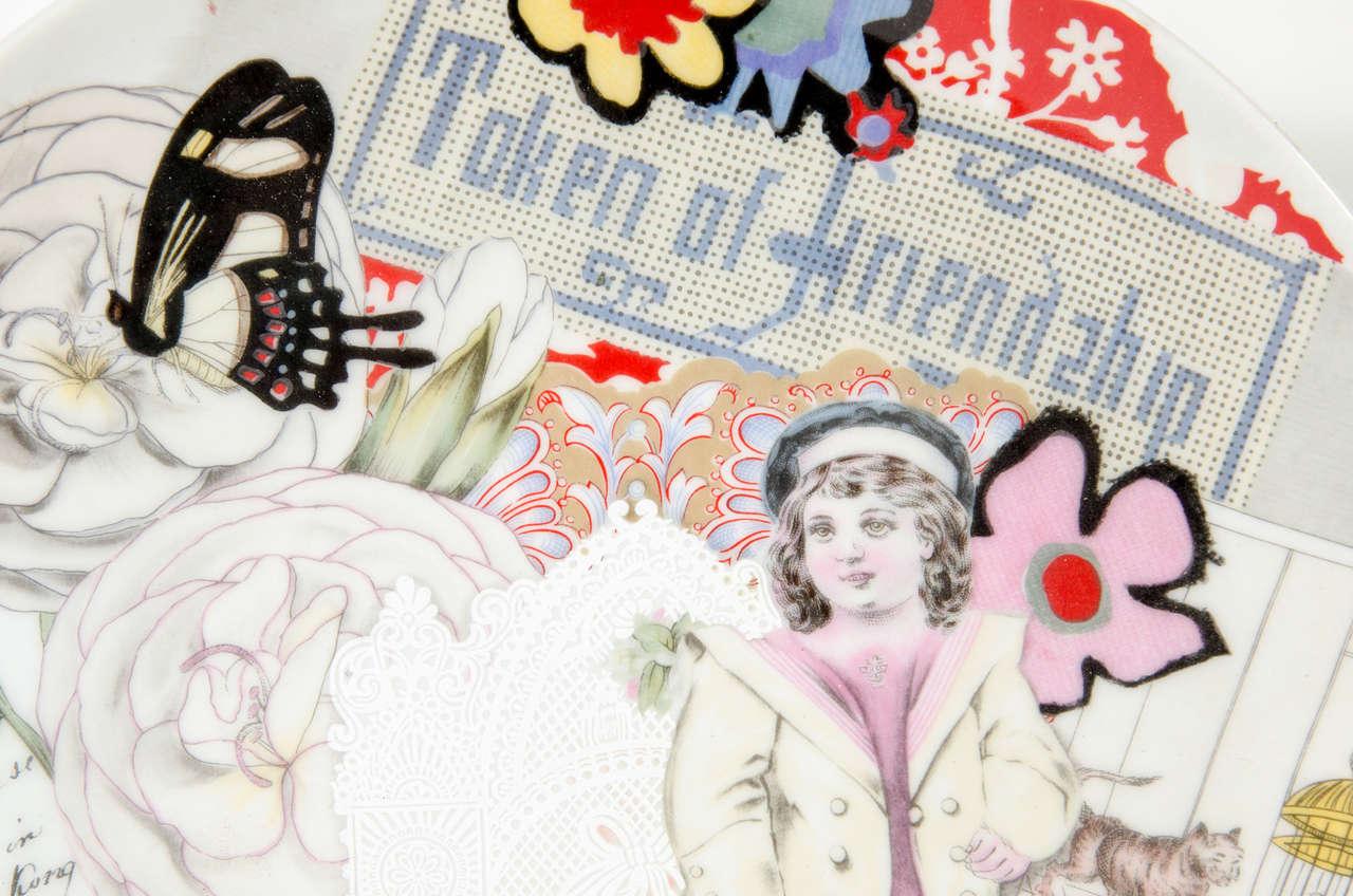 Mid-Century Modern Modernist Pop Art Collage Porcelain Plate