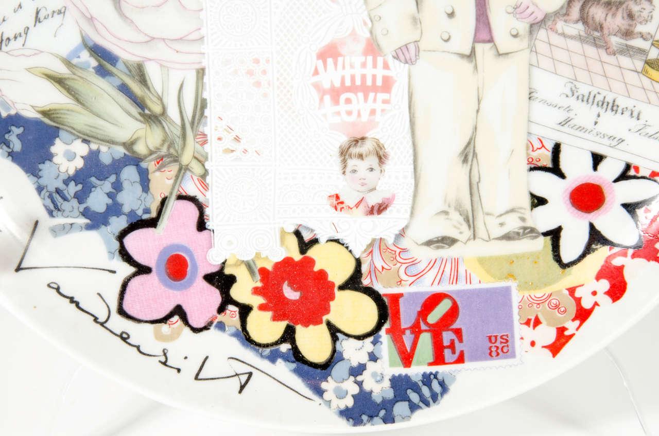Japanese Modernist Pop Art Collage Porcelain Plate