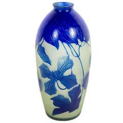 Art Nouveau Lapis Lazuli Etched Glass Cameo Vase signed by D'Argental