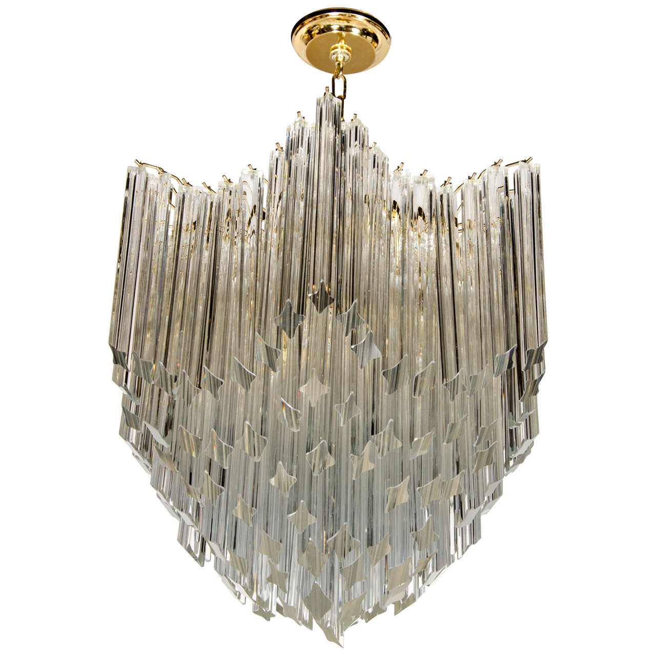 Murano Prism Chandelier: Exceptional Camer Venini Murano Glass Prism Chandelier At