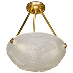 Art Deco Moulded Glass Flush Mount Chandelier W/ Stylized Grape and Leaf Motif