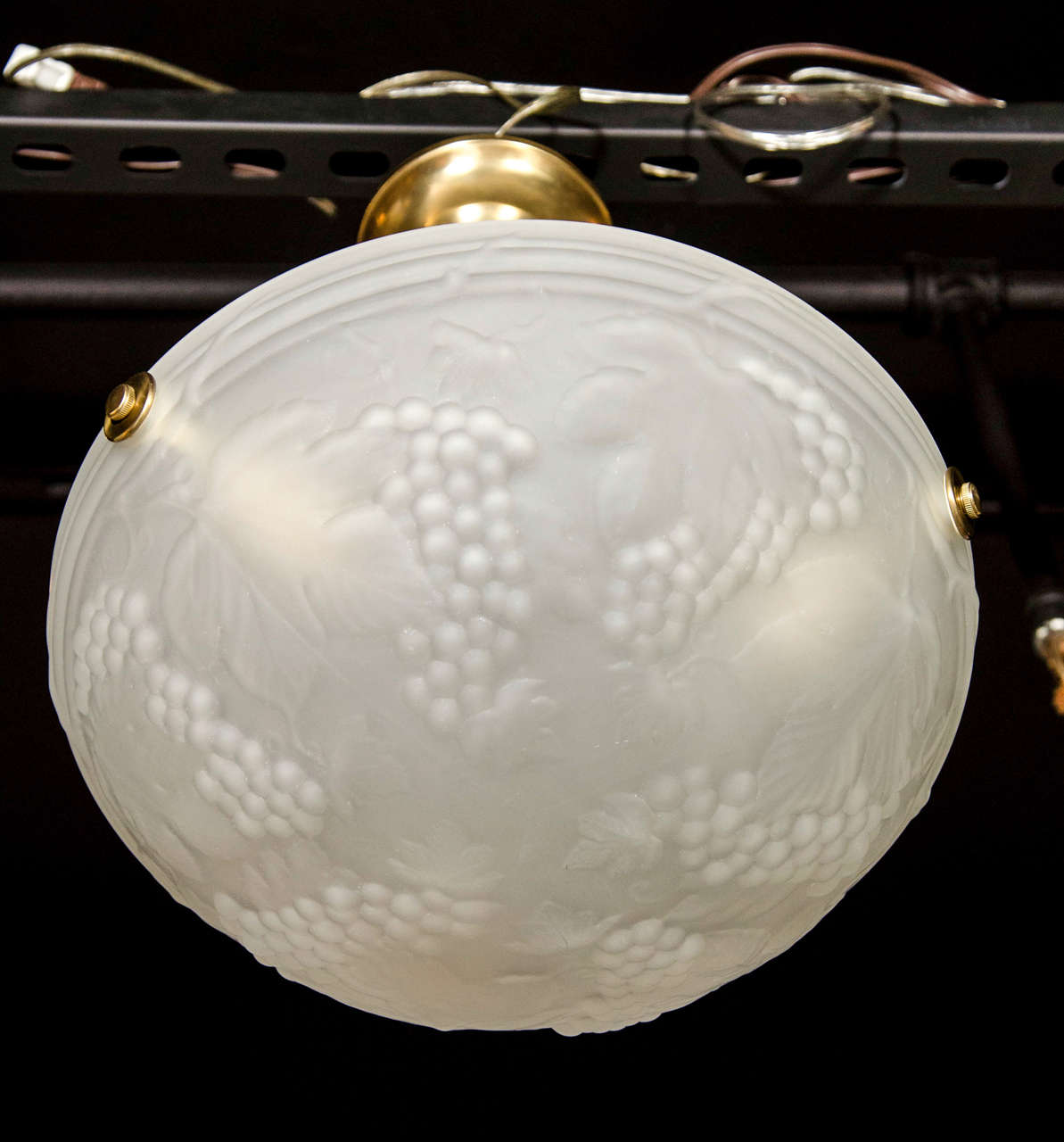 French Art Deco Moulded Glass Flush Mount Chandelier W/ Stylized Grape and Leaf Motif For Sale