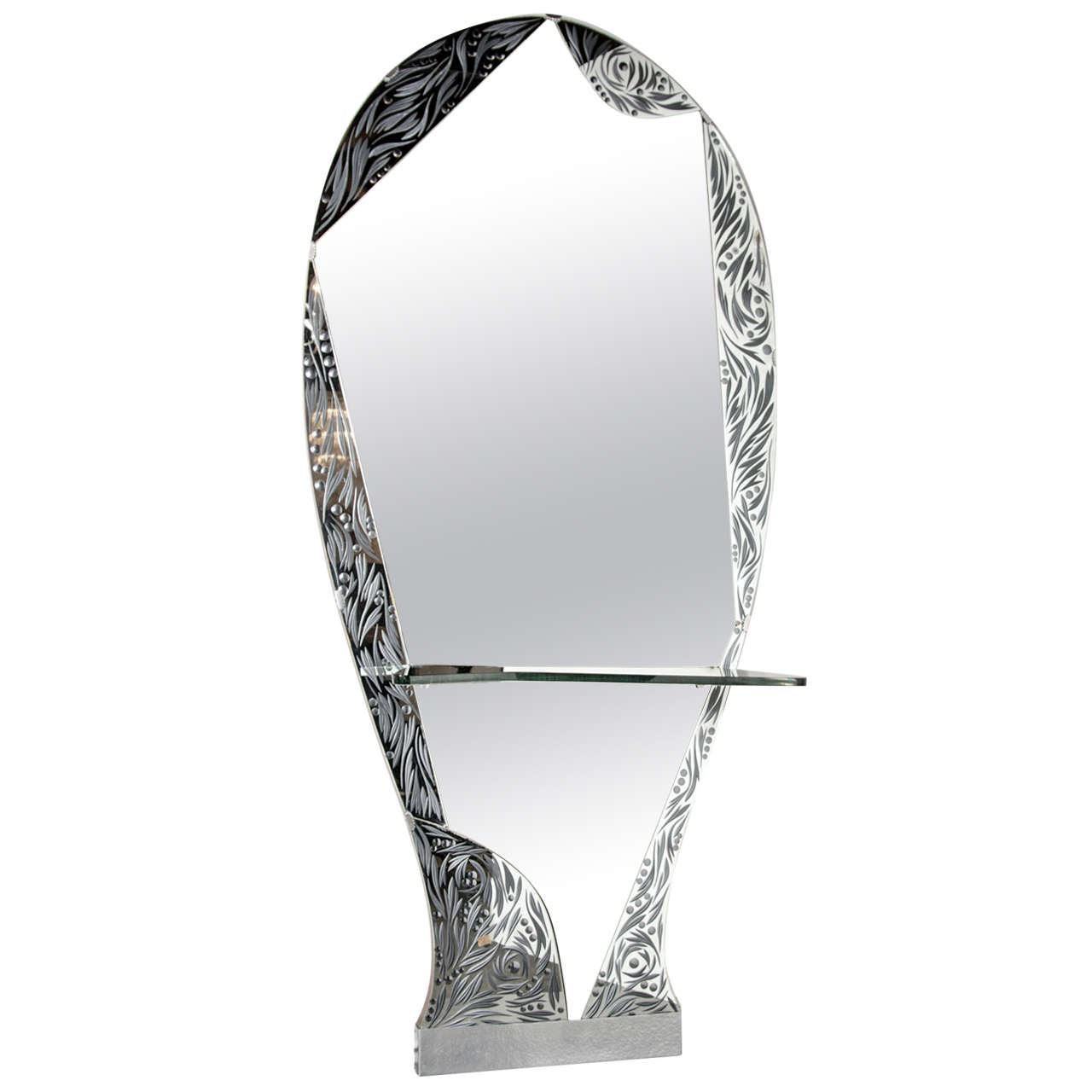 Spectacular standing mirror with console shelf by cristal for Full length mirror with shelf