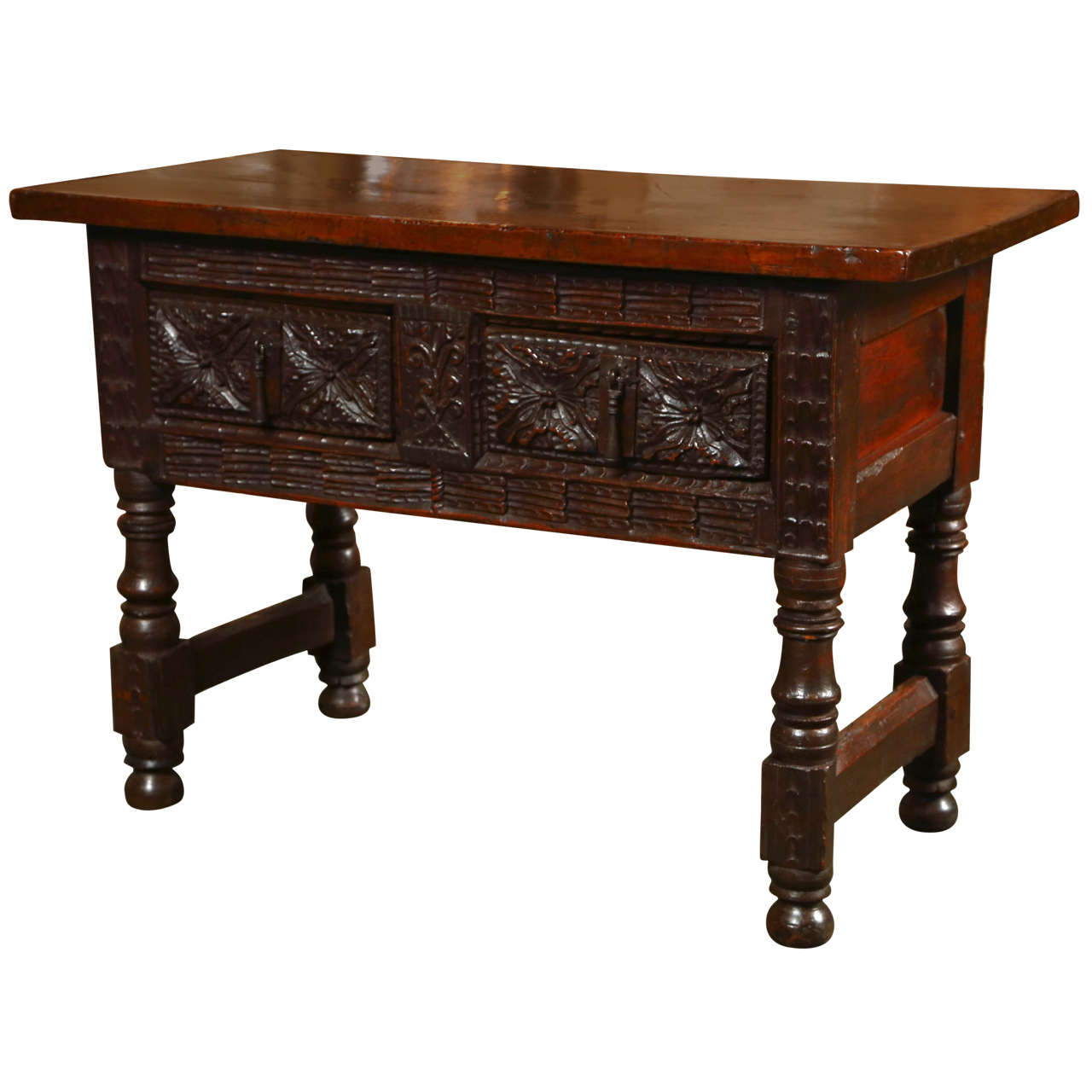 Carved walnut spanish table for sale at 1stdibs for Table in spanish