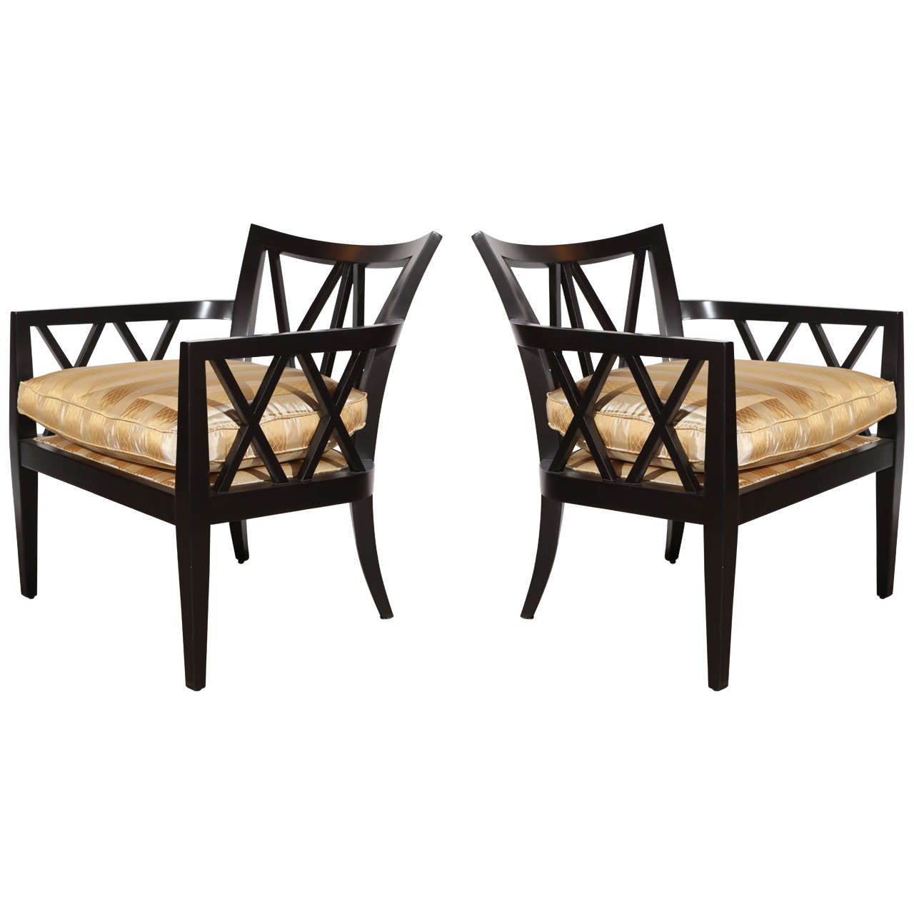 Pair of Double X Back Armchairs by Barbara Barry for Baker