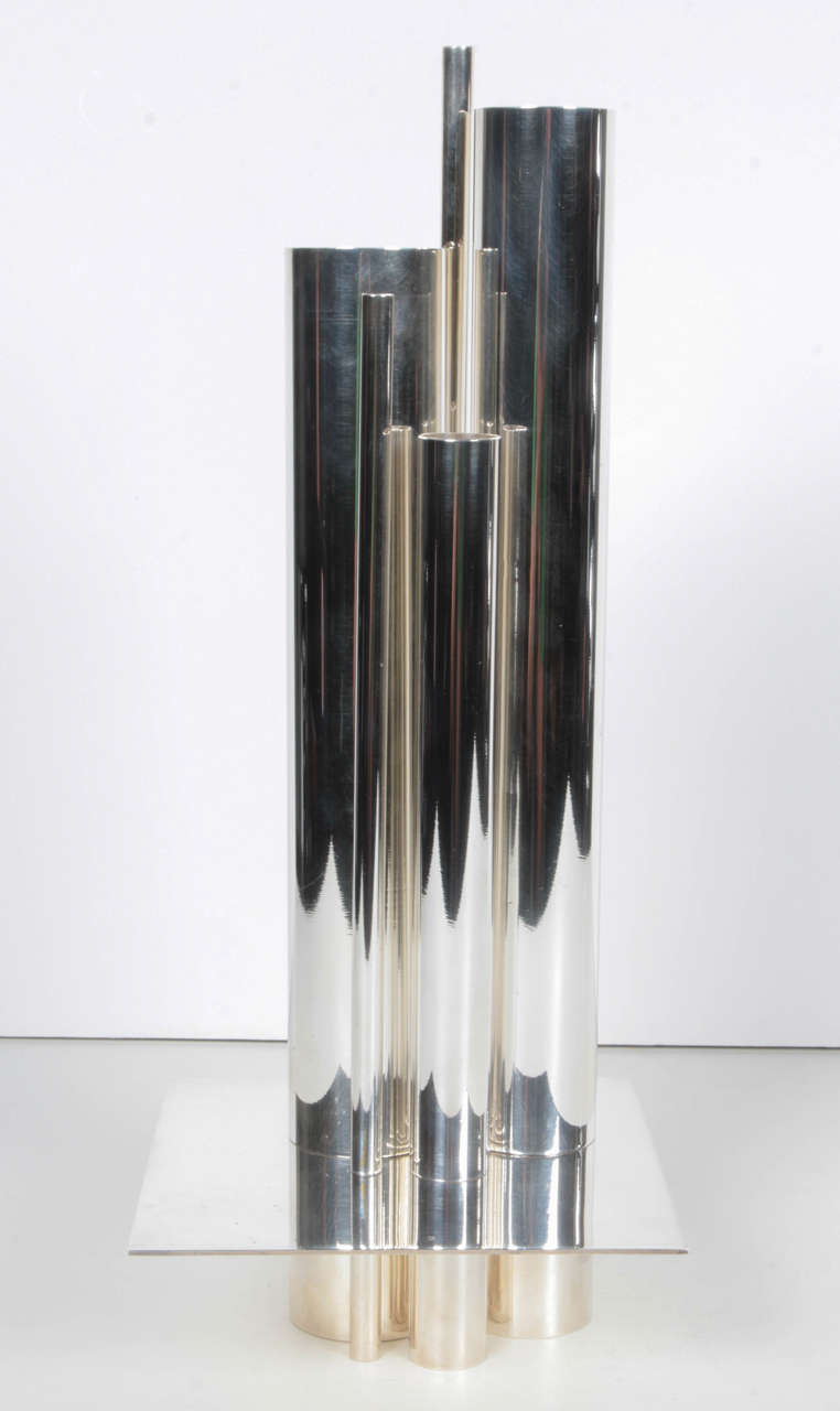 silver plated gio ponti vase for christofle for sale at 1stdibs. Black Bedroom Furniture Sets. Home Design Ideas