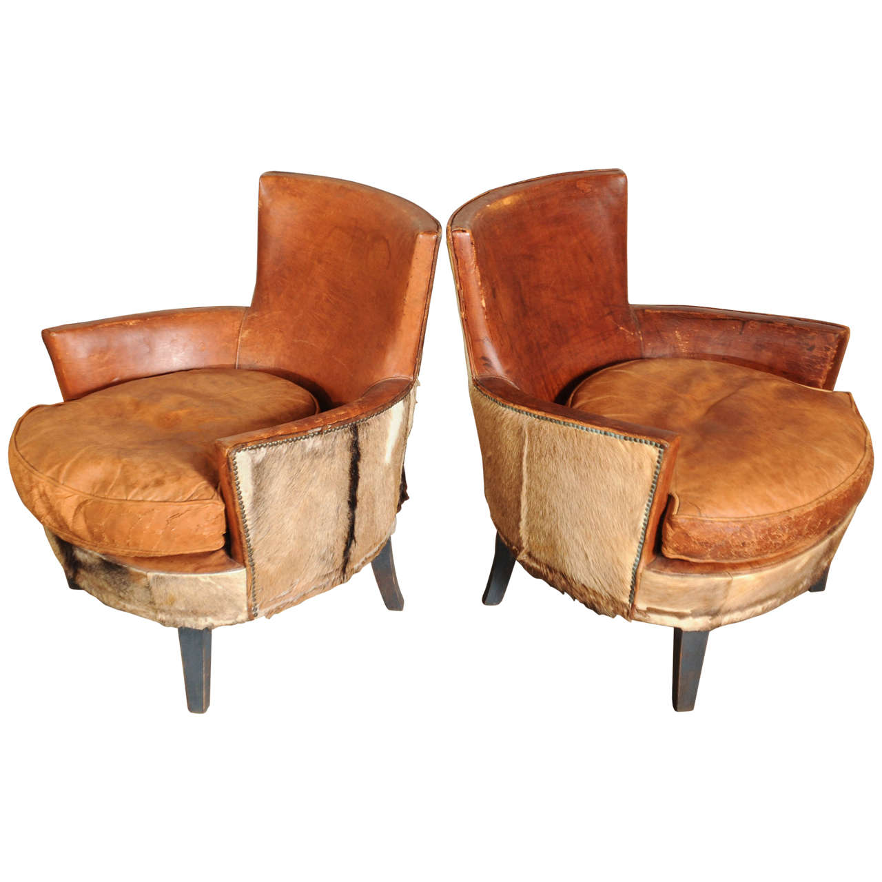 Pair Of 1910s 1920s Boar Skin Armchairs At 1stdibs