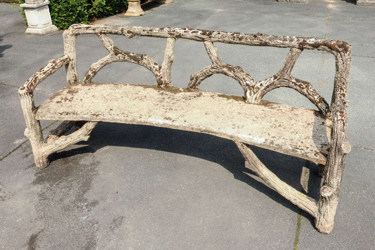 Curved French Faux Bois Cement Garden Bench In Good Condition For Sale In  Baambrugge, NL