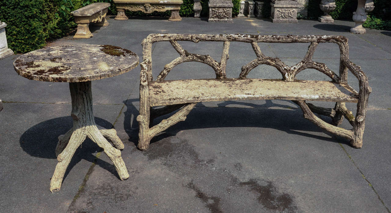 Curved French Faux Bois Cement Garden Bench At 1stdibs