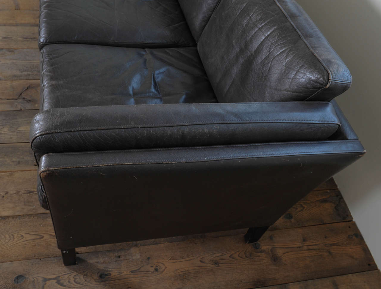 Mid-20th Century 1960s Danish Three-Seat Vintage Design Sofa with Black Leather Upholstered For Sale