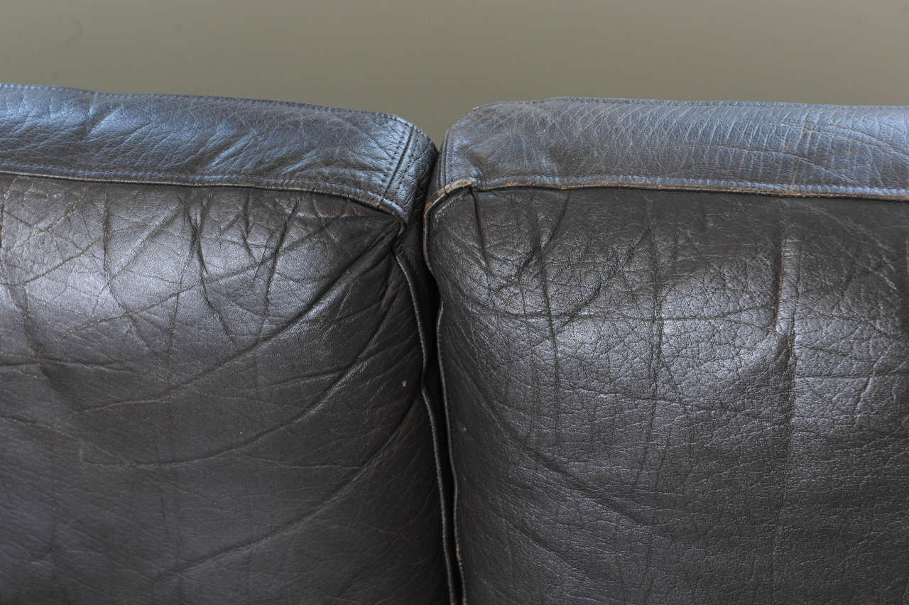1960s Danish Three-Seat Vintage Design Sofa with Black Leather Upholstered For Sale 1
