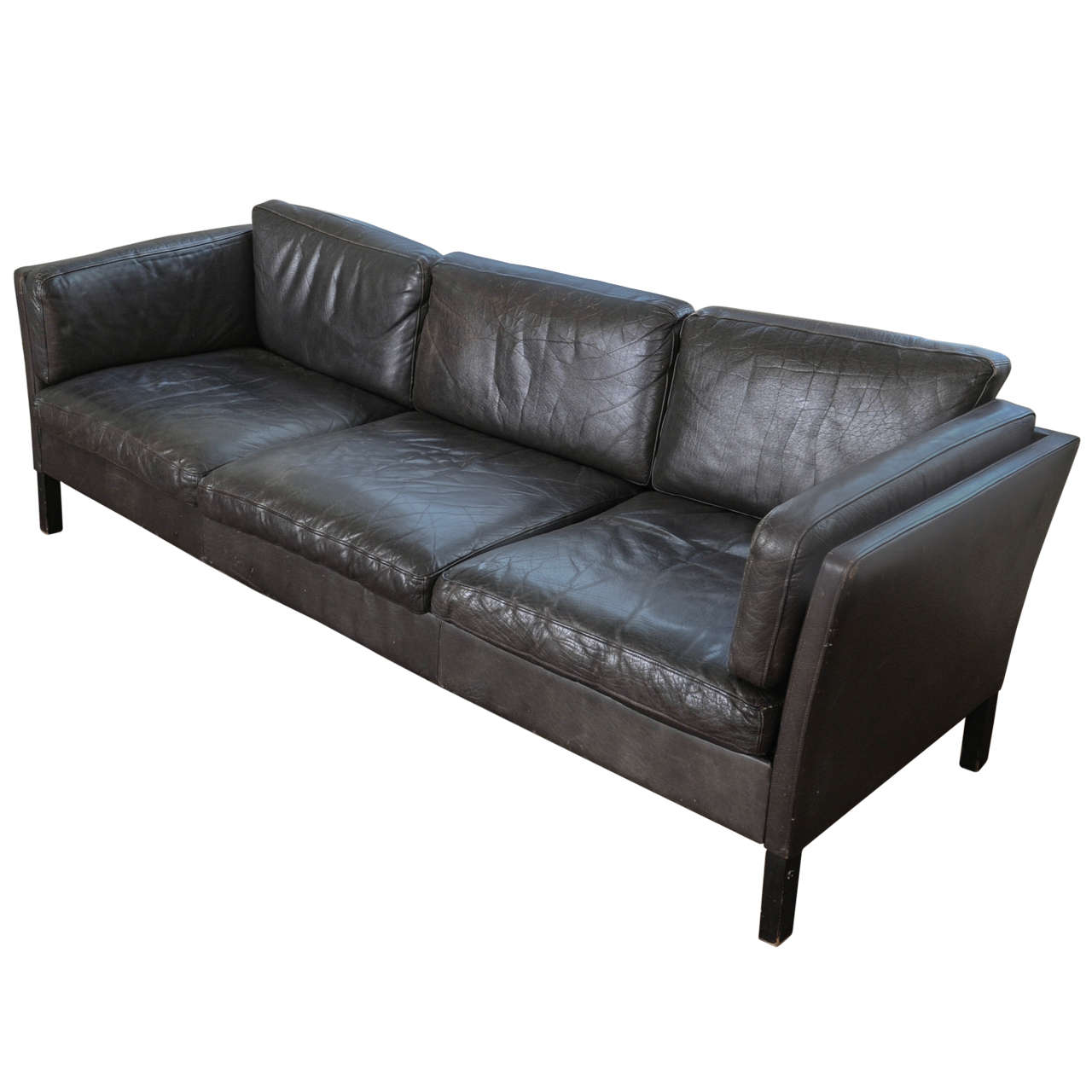 1960s Danish Three-Seat Vintage Design Sofa with Black Leather Upholstered