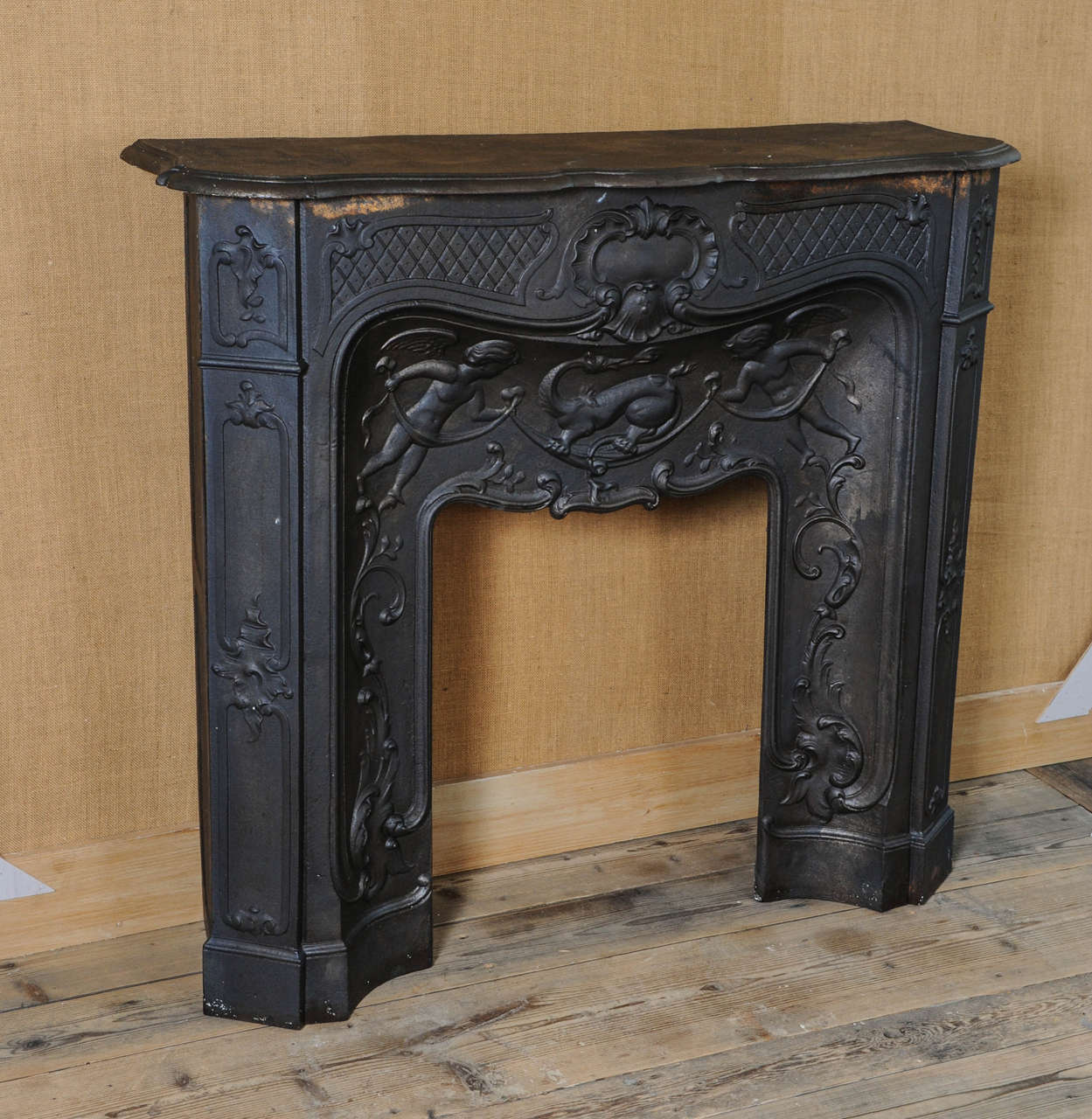 Rare 19th century french cast iron pompadour fireplace mantel piece at 1stdibs - Fireplace mantel piece ...