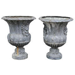Pair of English Lead Garden Vases of Campana Form