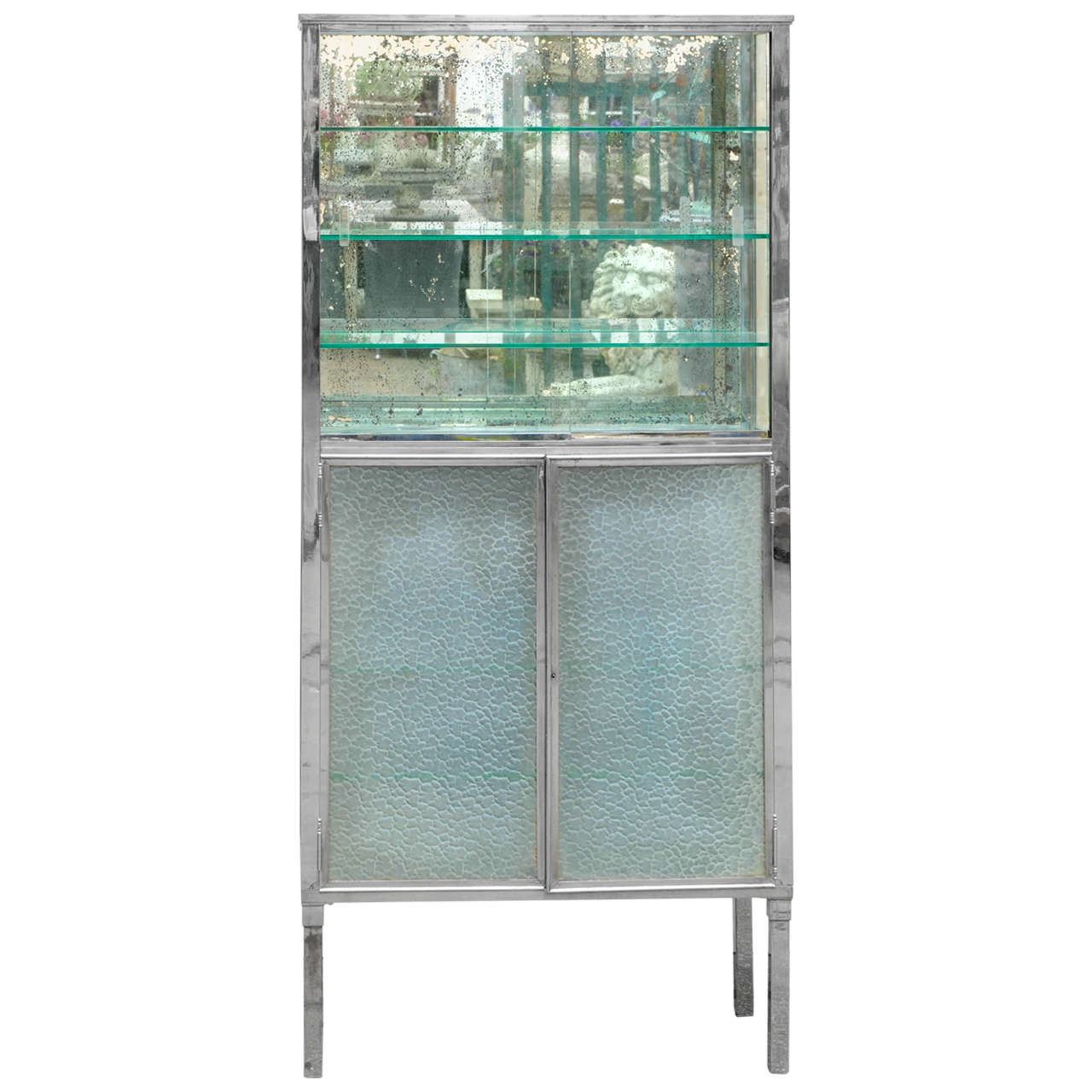 Nickeled glass doctors cabinet suitable as a showcase or for Sideboard vitrine