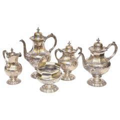 Rare Wm. Gale & Sons Early 19th Century Silver Repousse Five-Piece Tea Set