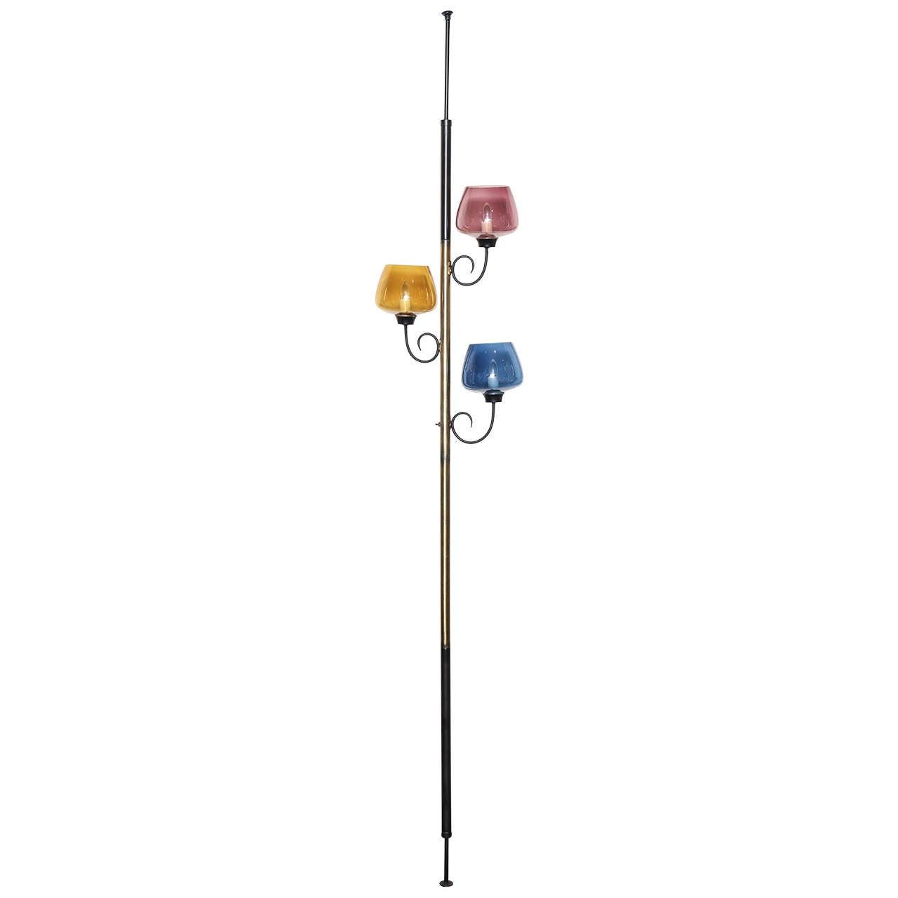 mid century modern murano glass pole lamp at 1stdibs. Black Bedroom Furniture Sets. Home Design Ideas