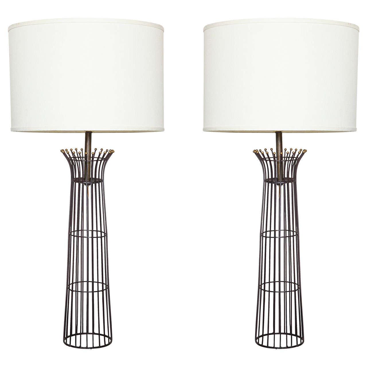 Pair of wrought iron table lamps at 1stdibs mozeypictures Gallery
