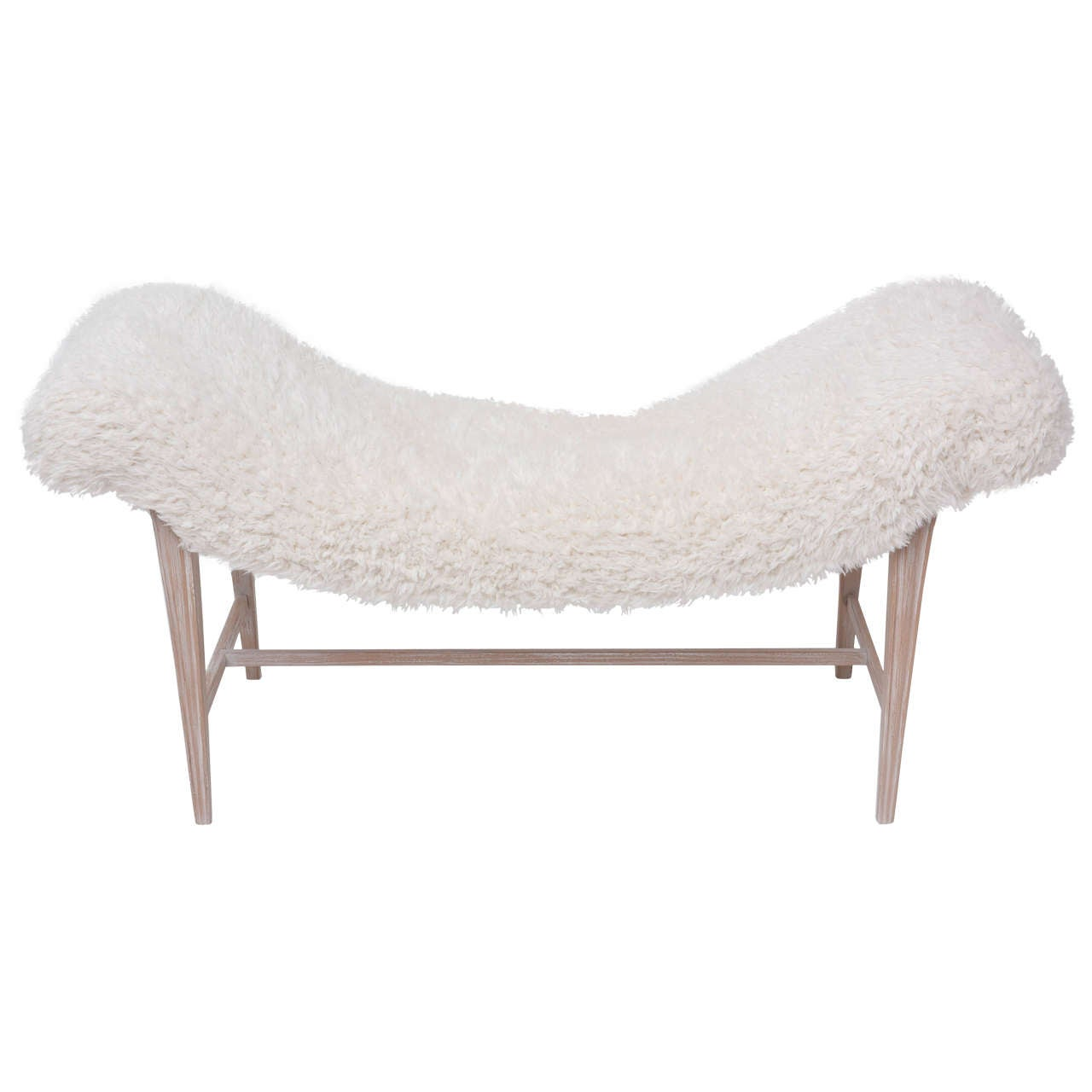 Faux Fur Curved Bench