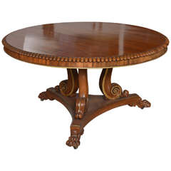 English Regency Circular Palisander and Parcel-Gilt Centre or Breakfast Table