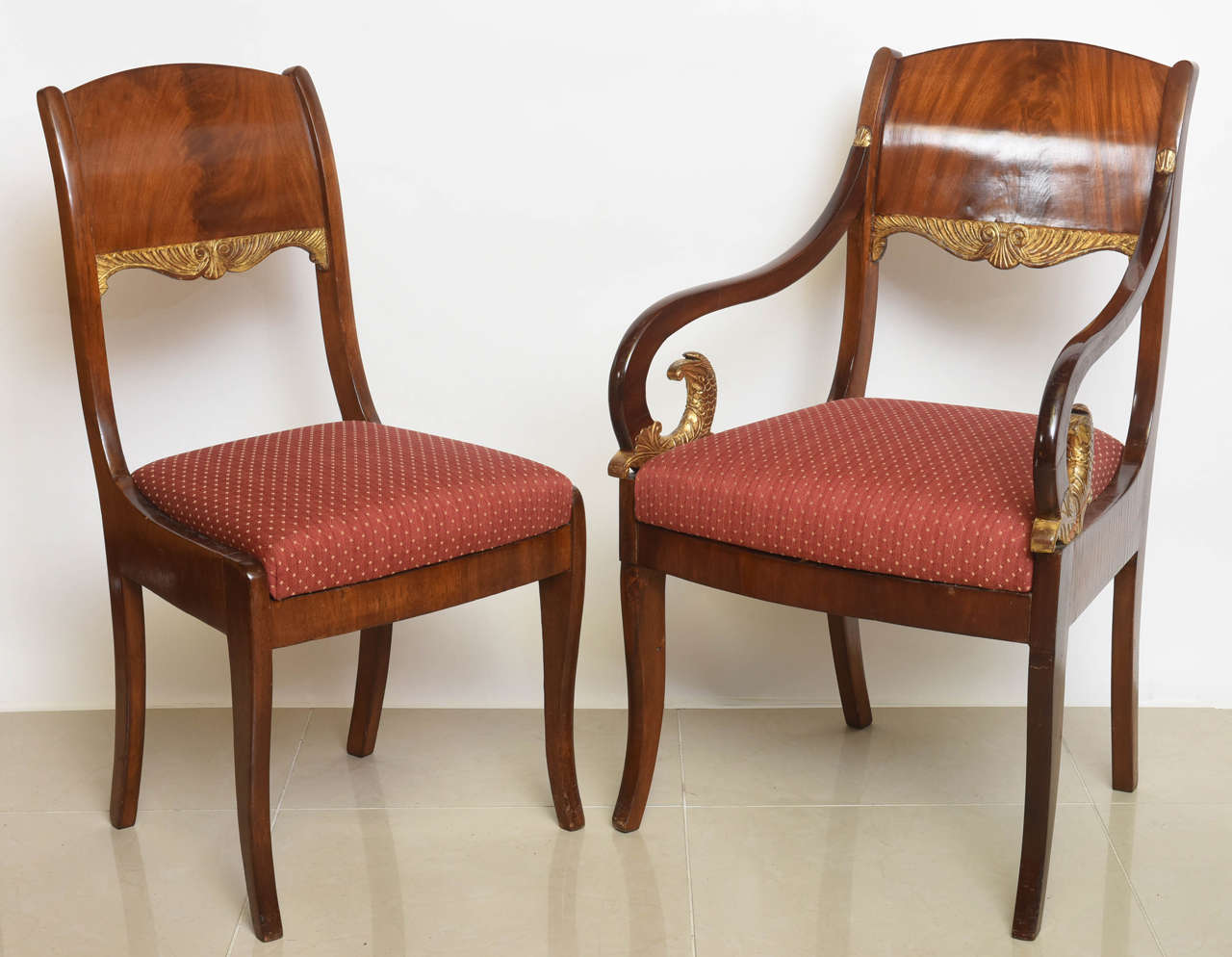 Neoclassical Set of Eight Russian Neoclassic Mahogany and Parcel-Gilt Dining Chairs For Sale