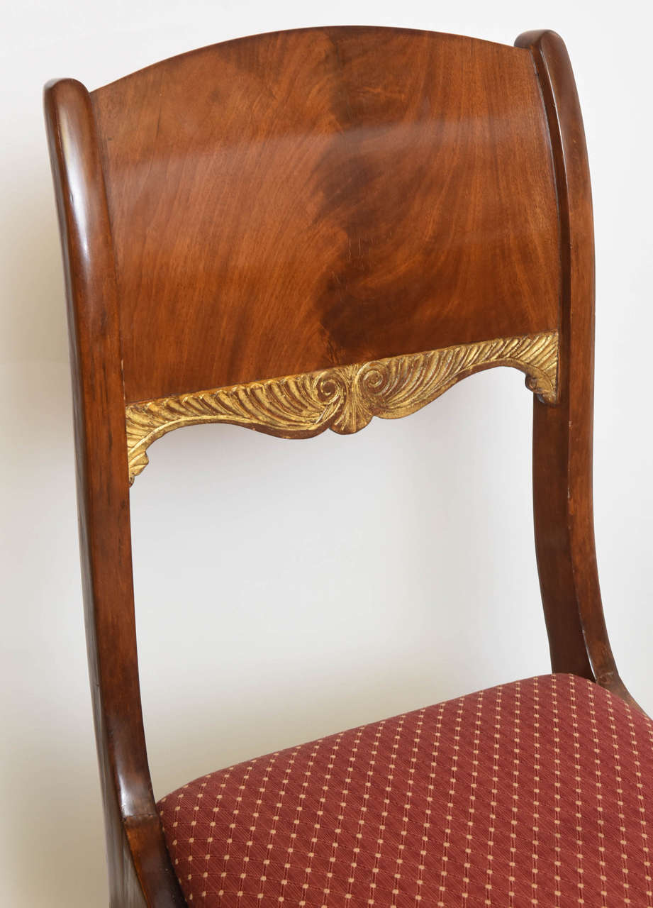 Set of Eight Russian Neoclassic Mahogany and Parcel-Gilt Dining Chairs In Excellent Condition For Sale In Miami, FL