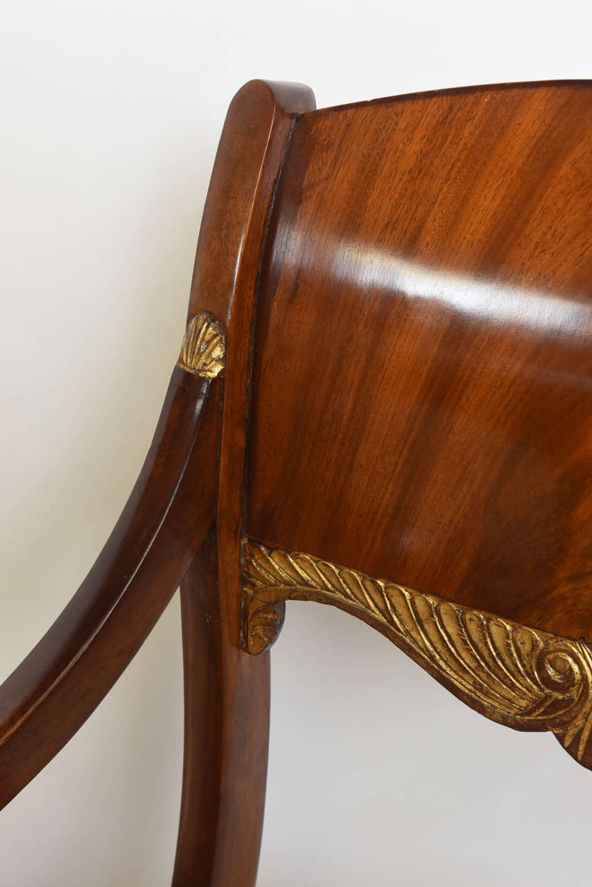 19th Century Set of Eight Russian Neoclassic Mahogany and Parcel-Gilt Dining Chairs For Sale