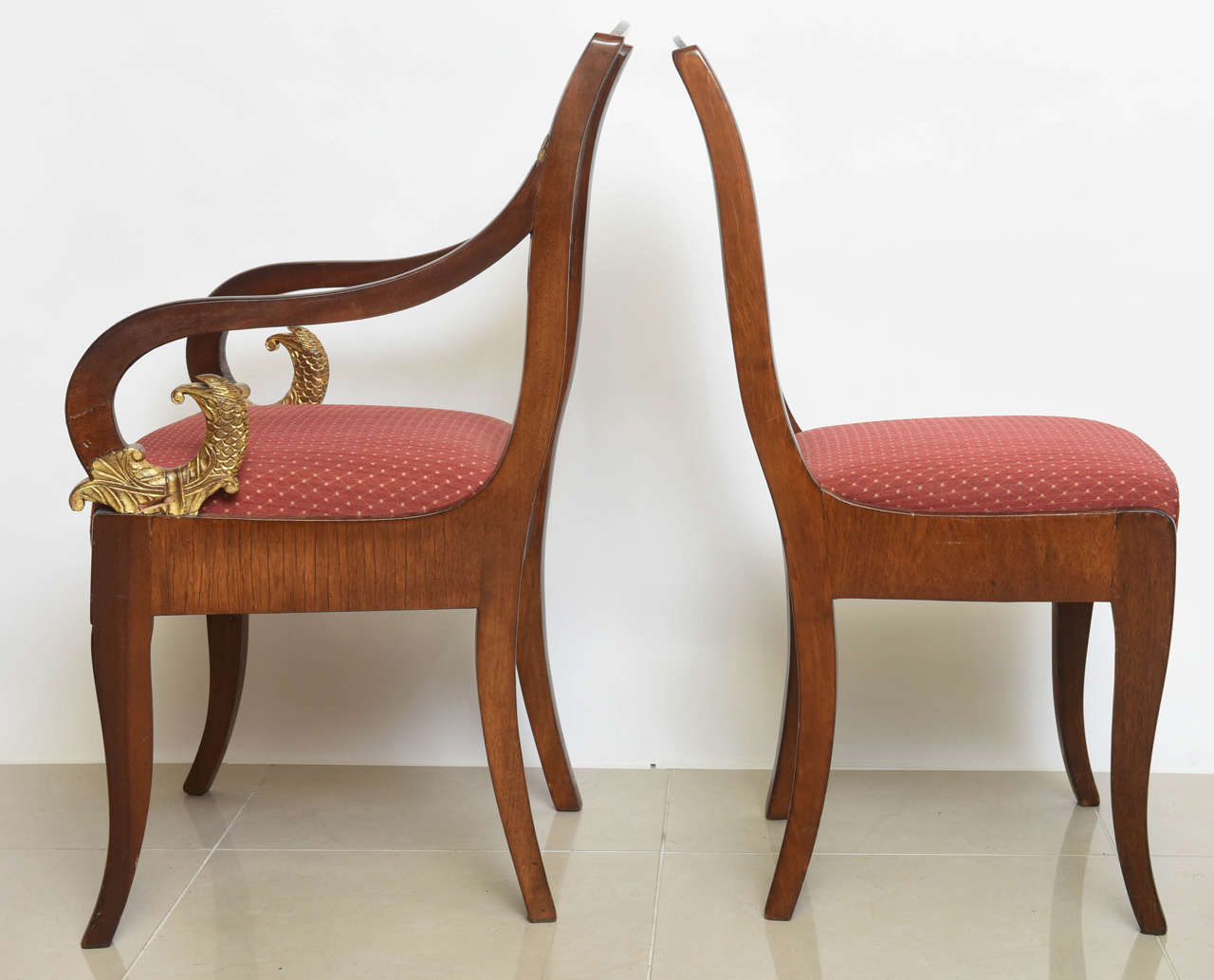 Set of Eight Russian Neoclassic Mahogany and Parcel-Gilt Dining Chairs For Sale 1