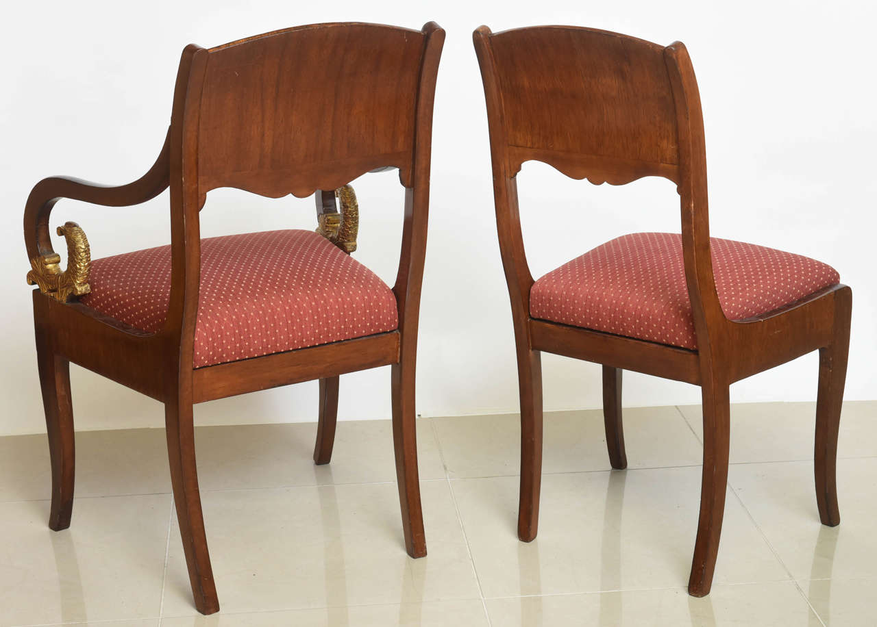 Set of Eight Russian Neoclassic Mahogany and Parcel-Gilt Dining Chairs For Sale 2