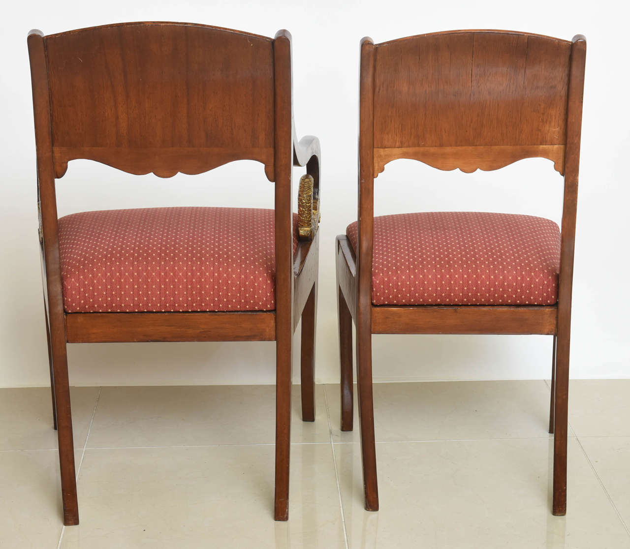 Set of Eight Russian Neoclassic Mahogany and Parcel-Gilt Dining Chairs For Sale 3