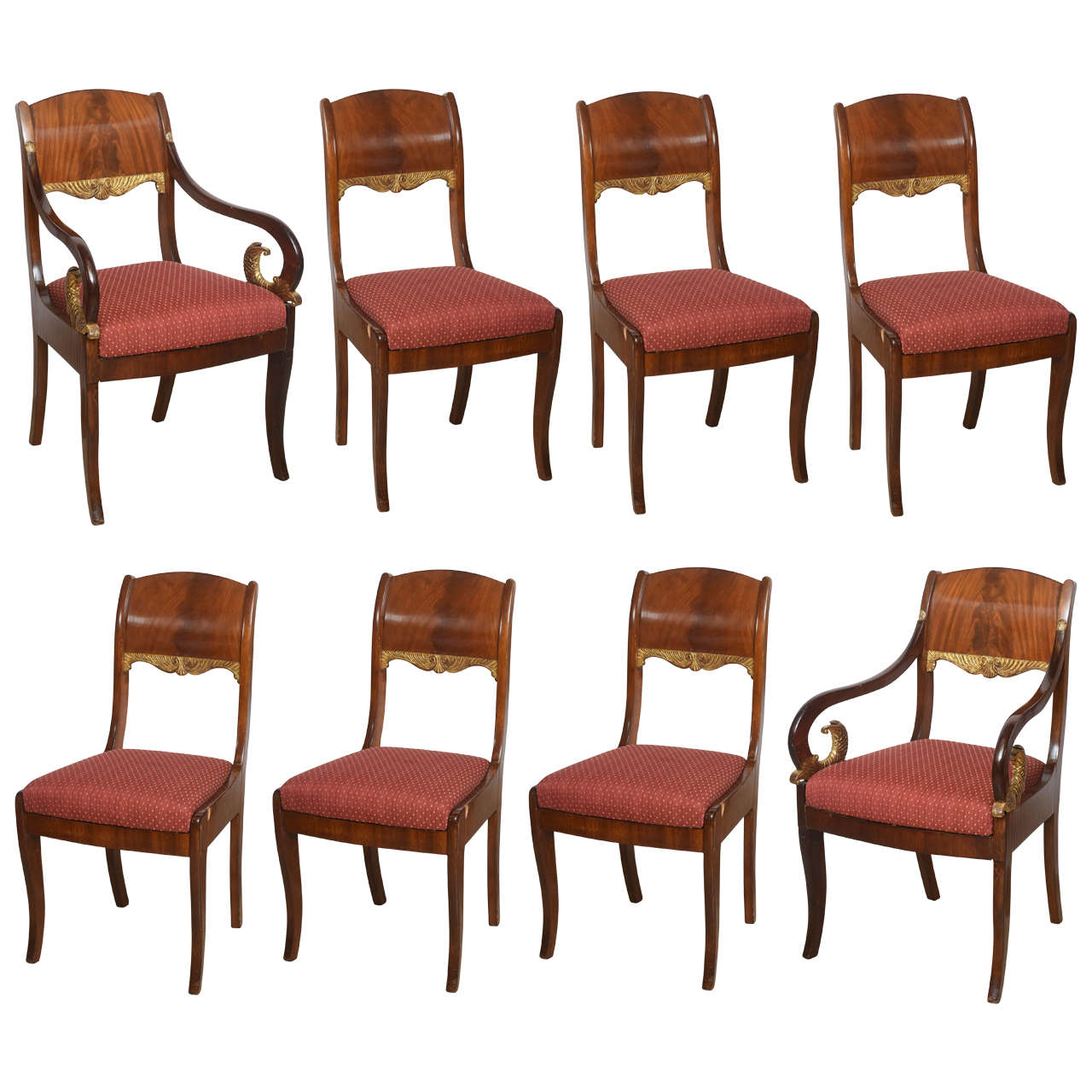 Set of Eight Russian Neoclassic Mahogany and Parcel-Gilt Dining Chairs For Sale