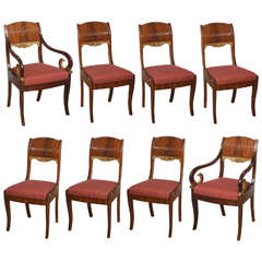 Set of Eight Russian Neoclassic Mahogany and Parcel-Gilt Dining Chairs