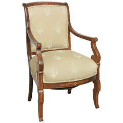 Charles X Inlaid Mahogany and Walnut Open Armchair, France