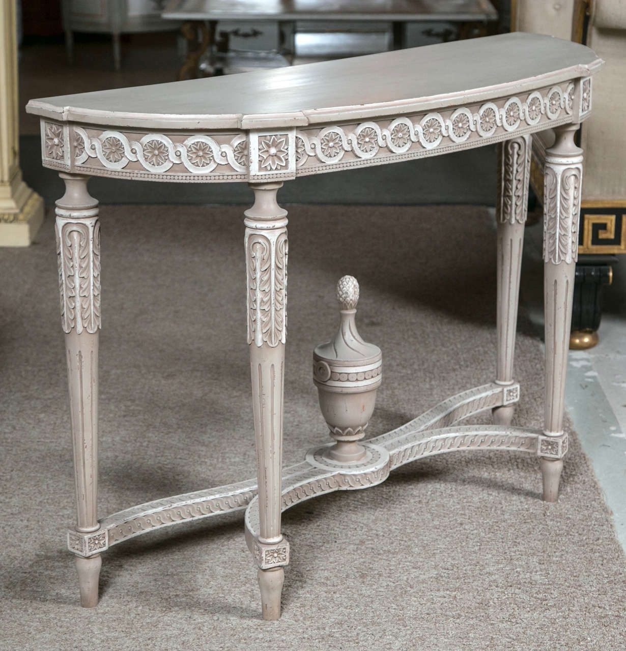 A Charming French Polychromed Demilune Console Table In The Style Of Louis Xvi Circa 1940s