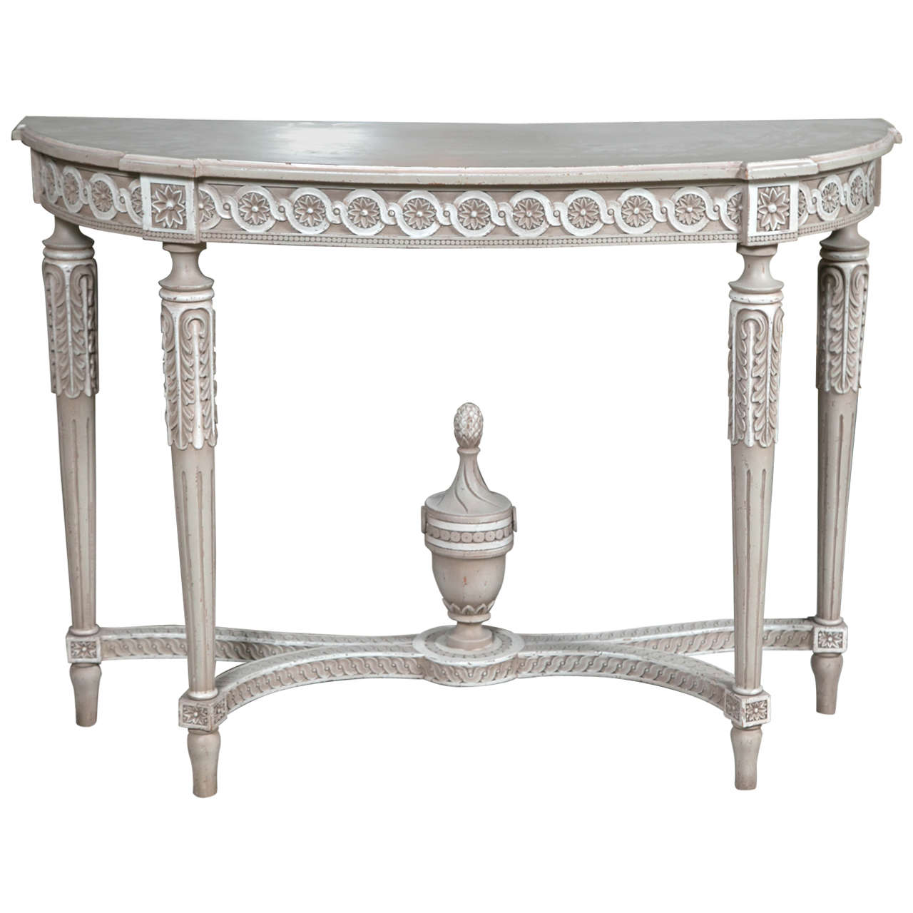 French louis xvi style painted demilune console table at 1stdibs french louis xvi style painted demilune console table 1 geotapseo Gallery