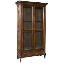 French Neoclassical Style Mahogany Bookcase Cabinet
