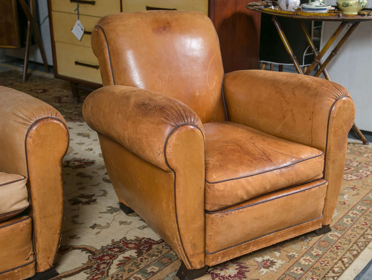 Art Deco Pair Of French Tan Leather Club Chairs For Sale