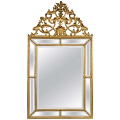 Italian Palatial Gilt Wall or Console Mirror Finely Carved Beveled Glass