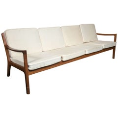 Ole Wanscher For John Stuart Danish Modern White Four Seat Cushion Couch Sofa