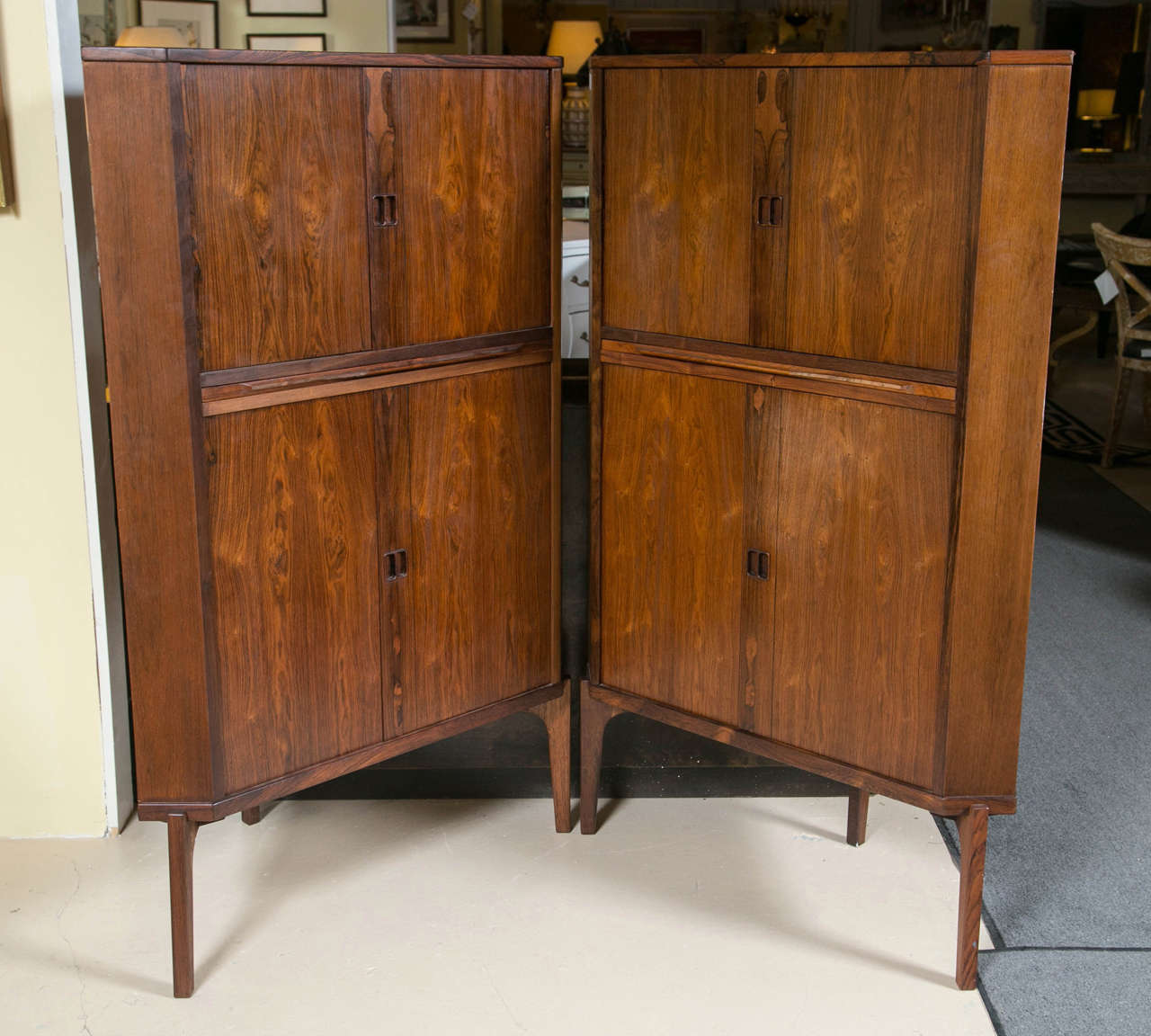Beautiful Pair Of Mid Century Modern Danish Rosewood Corner Cabinets. Each Having A  Conforming Case