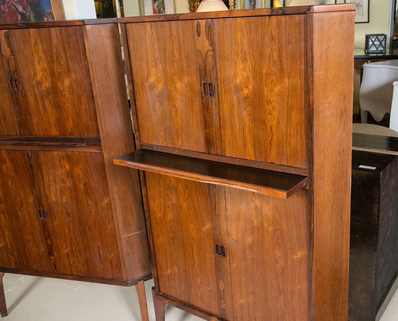 Mid Century Corner Cabinet: Pair Of Mid-Century Modern Danish Rosewood Corner Cabinets