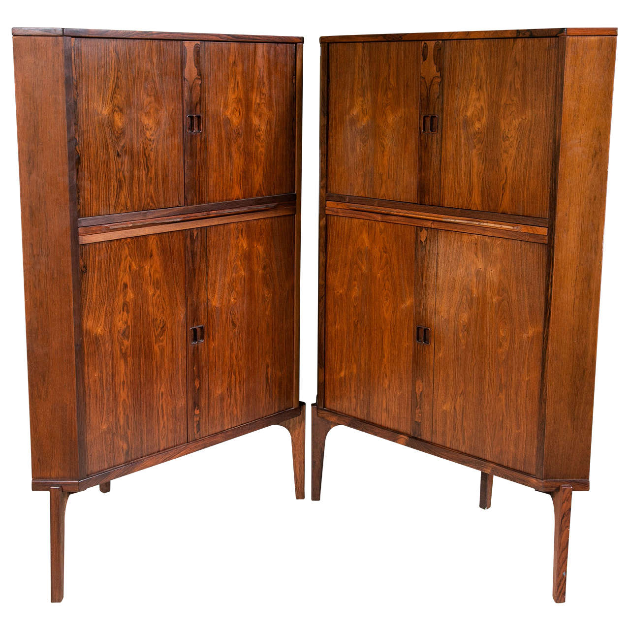 Pair Of Mid Century Modern Danish Rosewood Corner Cabinets Or Bars Raised  Legs