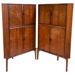 Pair of Mid-Century Modern Danish Rosewood Corner Cabinets or Bars Raised Legs